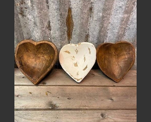 Heart wooden bowls- large