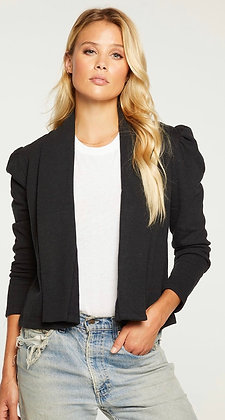 Cropped, fleece puff sleeve blazer