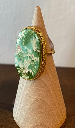 Sage turquoise ring set in 24K gold