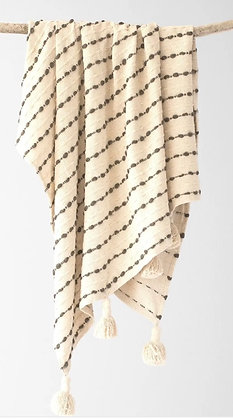 Pinstripe tassel blanket