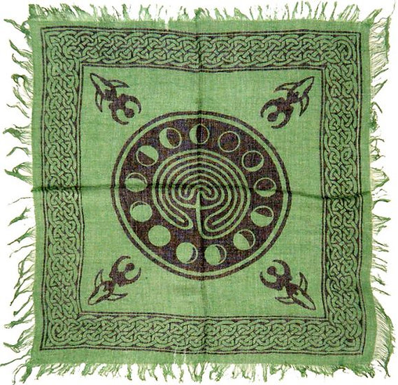 """Altar Cloth Celtic Earth with Moon Phases 18""""x18"""""""