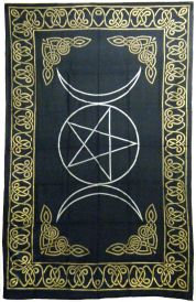 Golden Triple Moon Tapestry