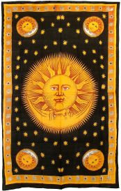 Gold Sun and Moon Tapestry