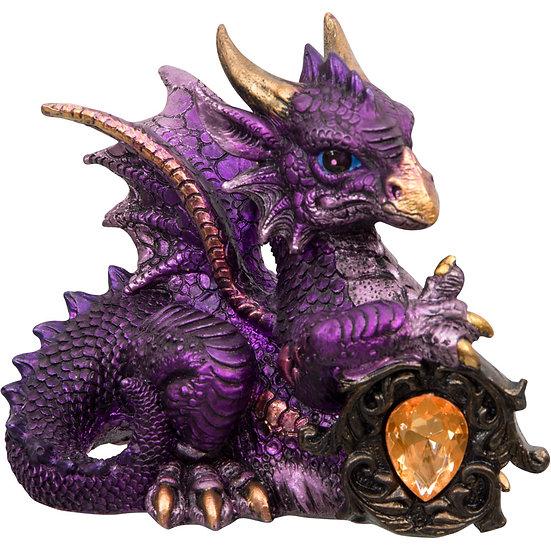 Baby Purple Dragon Figurine w/Gem