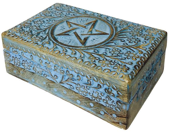 Wooden Handicraft Storage Box (Pentacle)