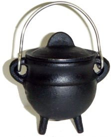 Cast Iron Cauldron with Lid, Plain 3.5 Inches