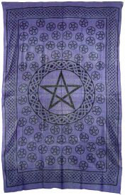 Purple and Black Pentacle Tapestry