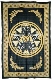 Yellow Pentacle with Goddess Tapestry