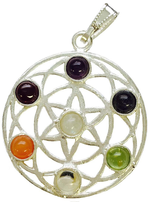 Flower of life 7 chakra pendant online store mystical celtic the chakra stones are used to balance the chakras on a daily basis and to enhance chakra healing every synthetic gemstone is based on the natural gemstone mozeypictures Choice Image