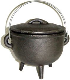 Cast Iron Cauldron with Lid, Plain 4.5 Inches