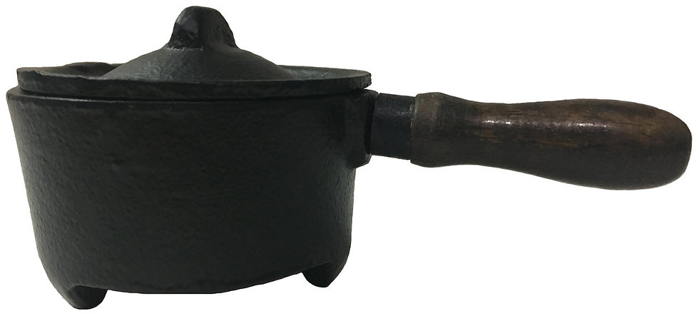 "Cast Iron Charcoal Burner with Wooden Handle 5"" (Pan)"