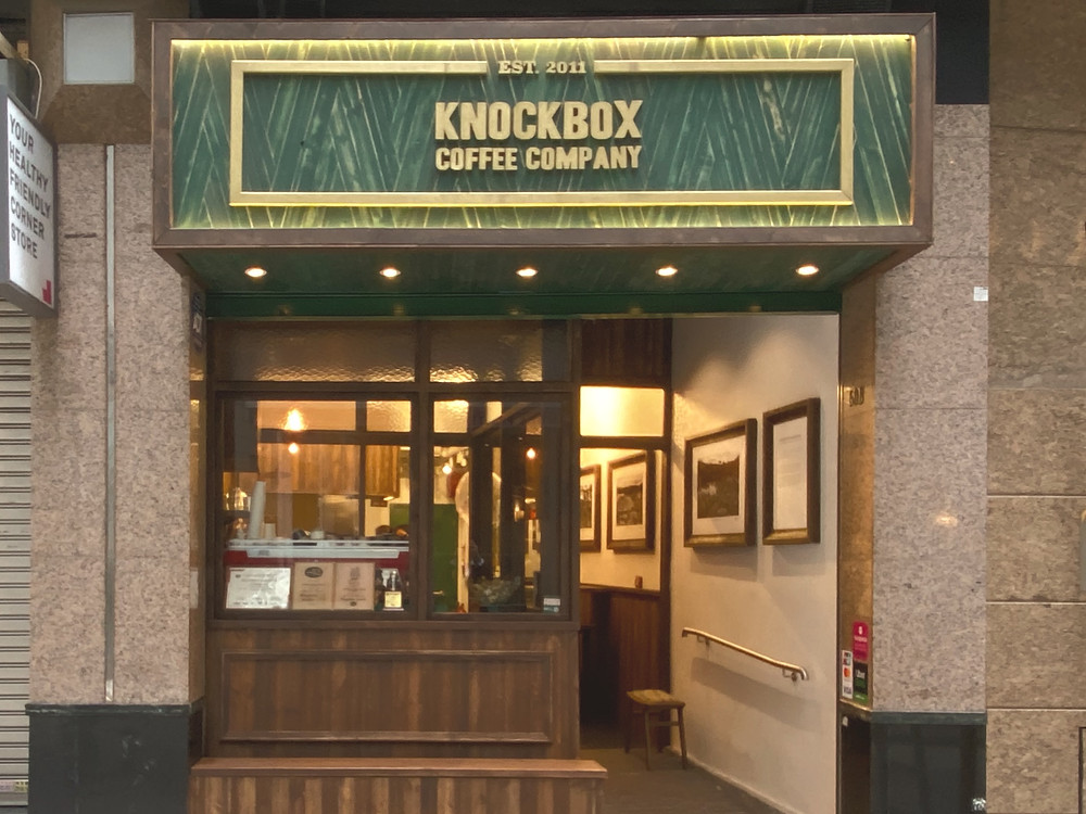 Knockbox Coffee Company shop front in Hong Kong.