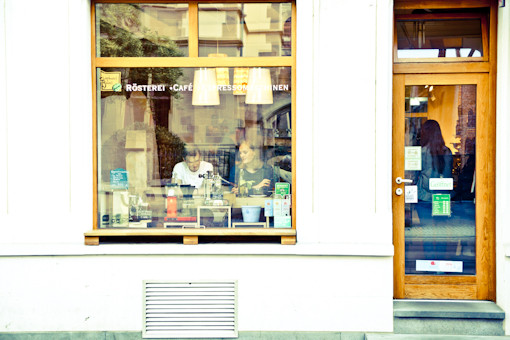 Shop front of Elephant Beans in Freiburg, Germany.