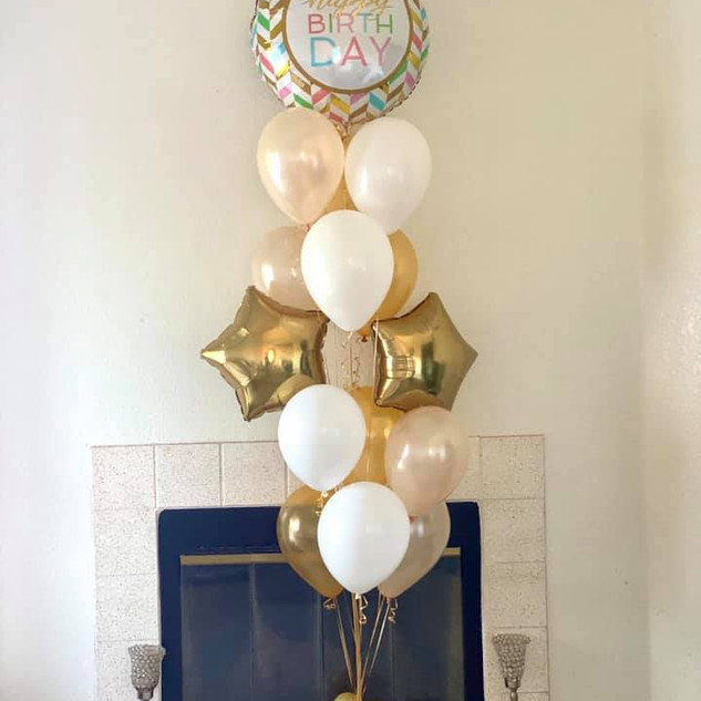 VB HBD Balloon Bouquet Pearl Peach-Gold.