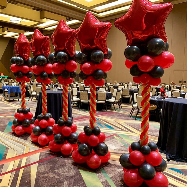Customized Balloon Columns with Mylar Balloon Toppers