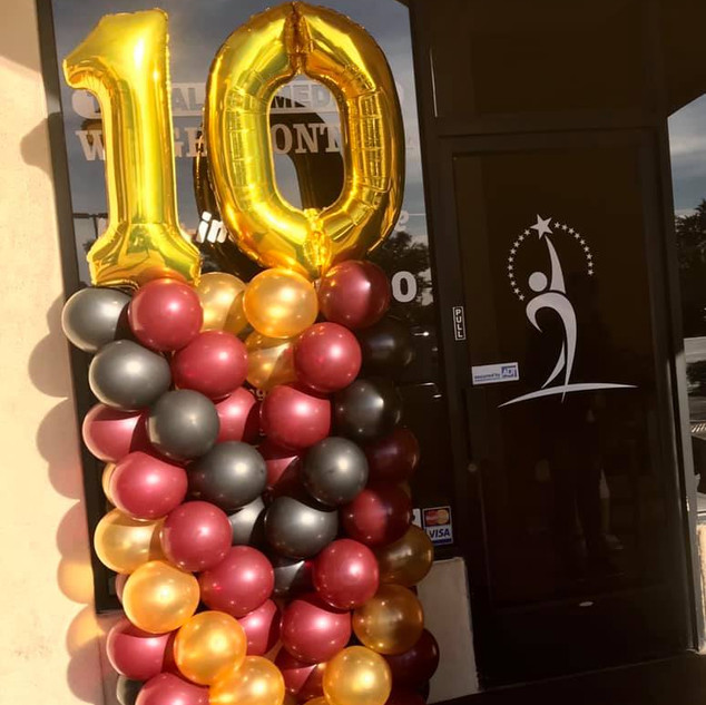 Traditional Balloon Columns with Mylar Number Toppers