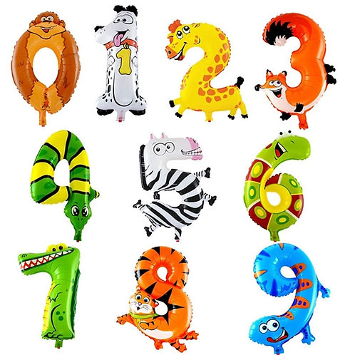 Animal Themed Large Number Balloons