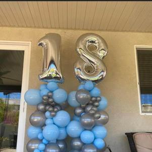 Organic Style Balloon Columns w/ Mylar Toppers