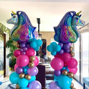 Organic Balloon Columns w/ Character Topper