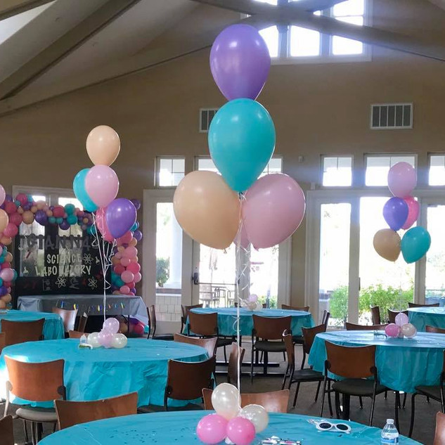 Helium Inflated Balloon Centerpieces