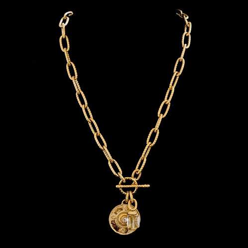 Chain Necklace with Medallion and Crystal Drop
