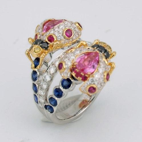 Multi-Colored Diamond and Gemstone Ring