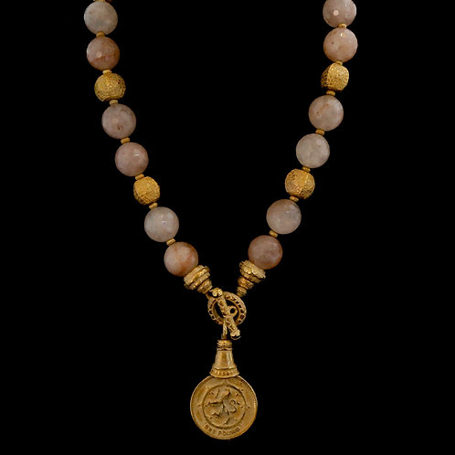 Rose Quartz Necklace with Coin Charm