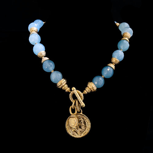 Aquamarine Necklace with Coin Drop