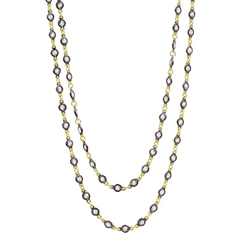 Black and Gold Embellished Wrap Chain Necklace