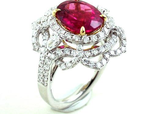 Diamond Ring with Rubelite Inset