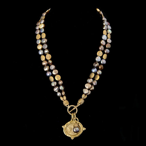 Double Strand Taupe Pearl Necklace with Bee Medallion