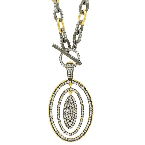 Two Tone Celestial Orbital Pendant Necklace