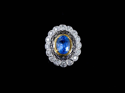 Large Blue Sapphire Flower Ring