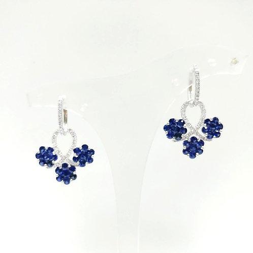 Blue Sapphire Triple Flower Earrings