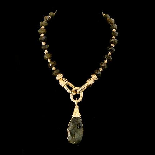 Dark Labradorite Necklace with XL Drop