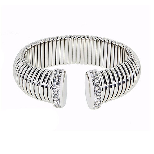 White Rigged Bangle with CZ
