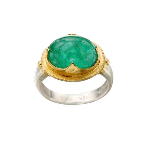 Sterling Silver / Gold Emerald Ring