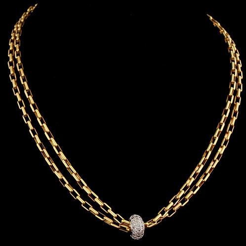 Double Strand Link Necklace with CZ Bead