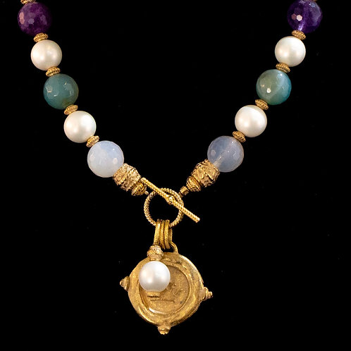 Pearl and Multi-Stone Necklace