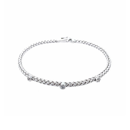 Silver Cuff with CZ Accents