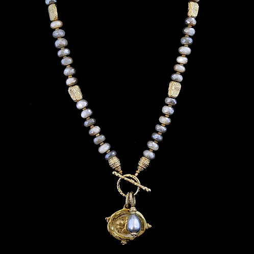 Peach Moonstone with Bee Medallion and Pearl Drop