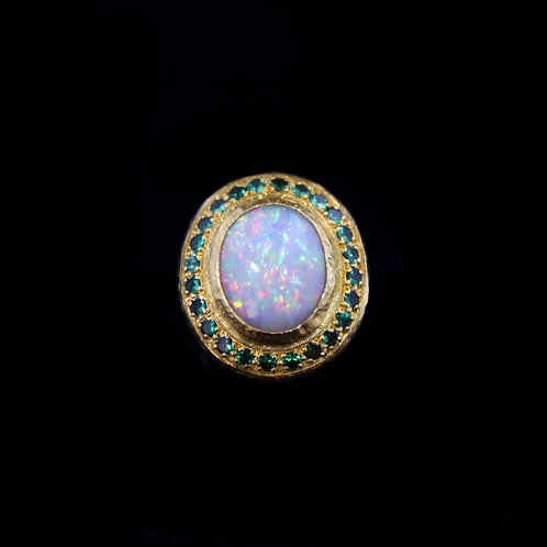 Opal and Tseverite Ring
