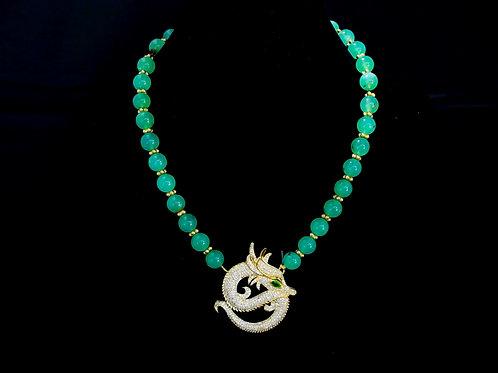 Chrysoprase Dragon Necklace