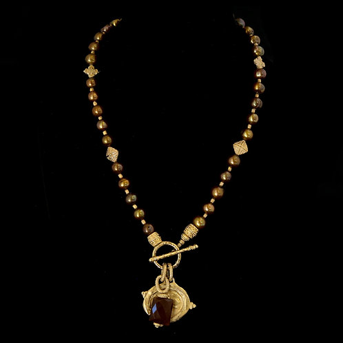 Long Brown Pearl Necklace with Bee Medallion