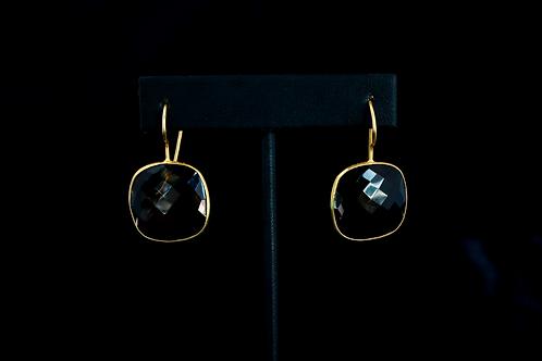 Square Smokey Quartz Earrings