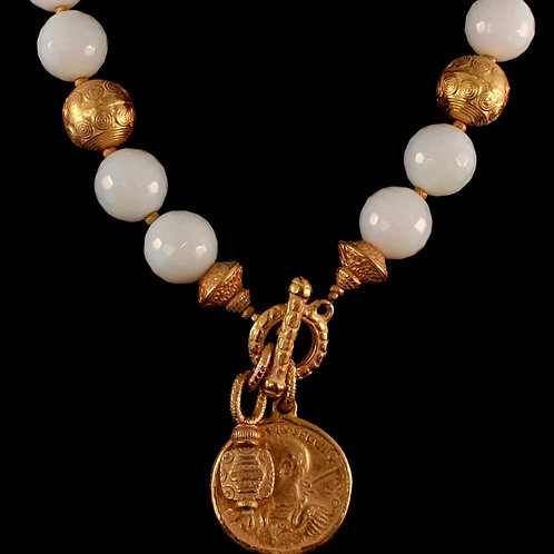 Agate Beaded Necklace with Coin Drop