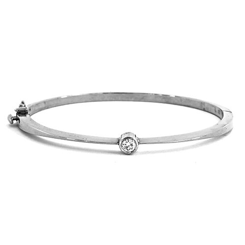 14k Bangle with Diamond Accent