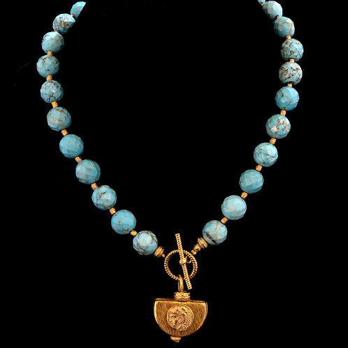 Turquoise Round Beads with Medallion Drop