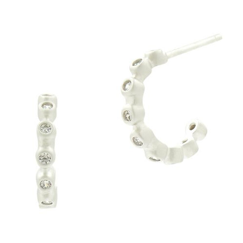 Silver Bezel Ear Huggie Earrings