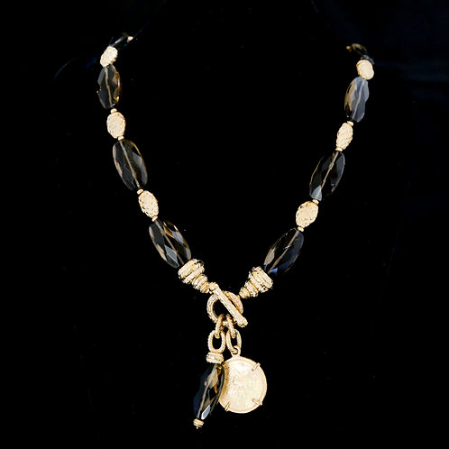 Smokey Topaz Necklace with Coin Drop